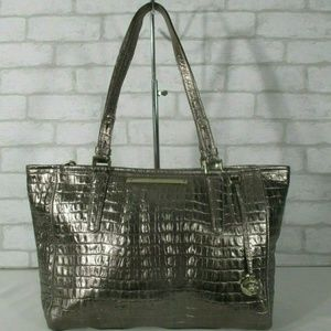 Brahmin Metallic Silver Croc Embossed Leather Tote
